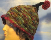 Crazy Antenna Dr. Suess, Greens, Teal, Moss, Deep Red Accents, Knit Hat Toque Beanie with Pom Pom in Hand Spun Variegated Yarn