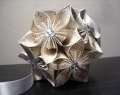 Wedding w/ Rhinestones Kusudama Origami Paper Flower Ball - Party, Decoration, Wedding