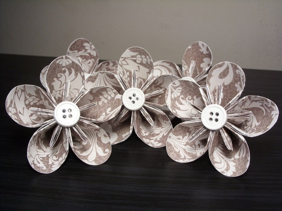 SALE - Brown/White Patterned Kusudama Origami Paper Flowers - Decoration, Party, Wedding, Anniversary (Set of 5)