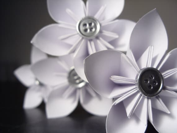 White with Silver Kusudama Origami Paper Flowers - Decoration, Party, Wedding, Centerpiece (Set of 6)