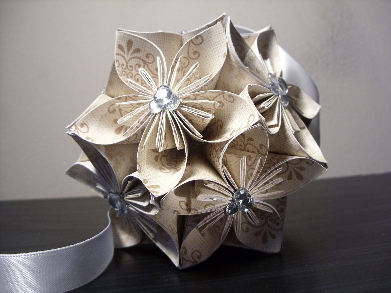 Wedding w rhinestones kusudama origami paper flower ball zoom dhlflorist Image collections