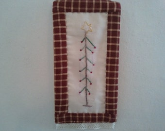 Christmas tree ornament, rustic country hand embroidered, hand quilted