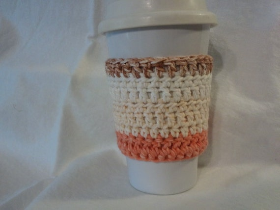 Cotton crochet coffee cozy, striped coffee cozy, beige coffee cozy, Mary Poppins colors
