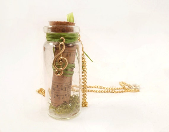 Bottle Pendant with Musical Charm and Scroll