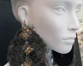 Give Me Butterflies -Feather Earrings w/ Butterfly Gold Swarovski Crystal 9033