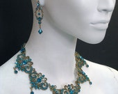 Jasmine Necklace  & Dangle earring SET made with Blue Zircon Swarovski Crystal plated  in Antique Gold 5658N