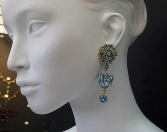 Blue Swarovski Crystal Gold Plated Earrings 6508