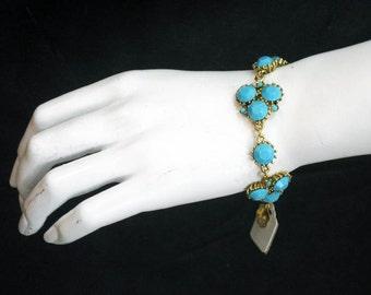 Gold & Turquoise Cluster Bracelet 2275B