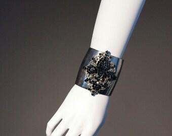 Fleur De Lis cuff Silver Plated made with Jet black  Swarovski Crystals cuff Fleur D' Lis