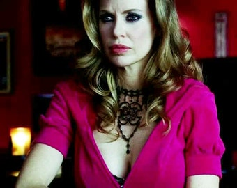 As seen on Kristin Bauer as Pam S3 Dangle Choker on True Blood Jet Black made with Swarovski Crystals