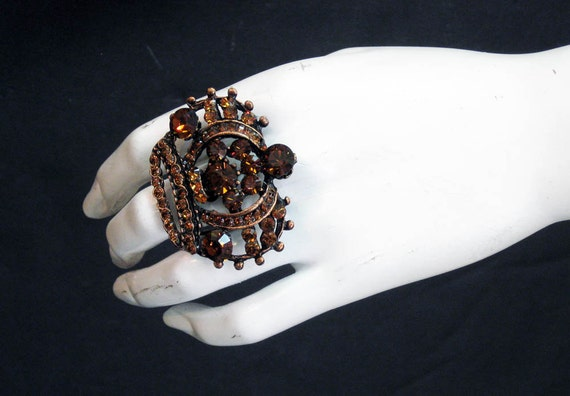 princess crown ring antique copper plated made with smoked