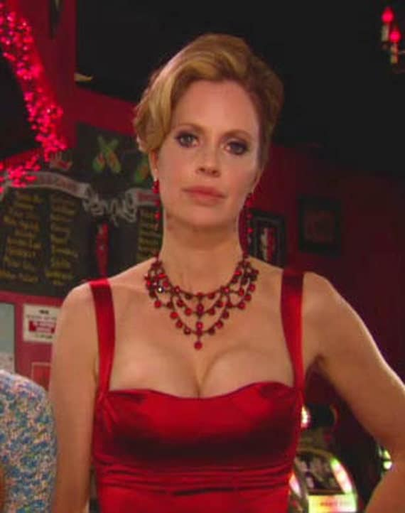 As Seen on Kristin Bauer as Pam on True Blood Siam Red Necklace with matching earrings made with swarovski crystals plated on black