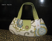 Small Purse - White and Green Whimsy