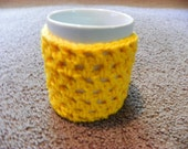 Made To Order. Handmade sunshine yellow coffee cup cozy - SALE
