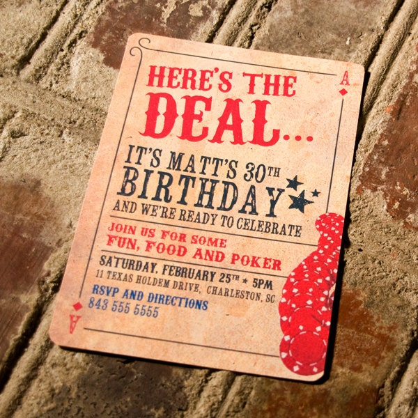 Here's The Deal Poker Card Birthday Invitation By