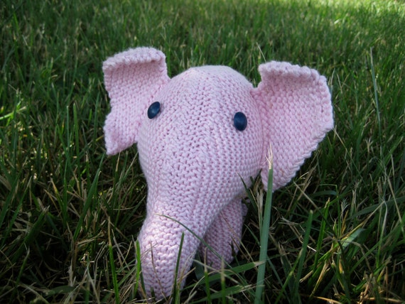 Stuffed Elephant Baby Toy Pink Hand-Knit