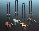 """HANDCRAFTED """"Wild Horses"""" NECKLACES Western Prairie Wearable Art SCULPTURES by artist Nina Winters"""