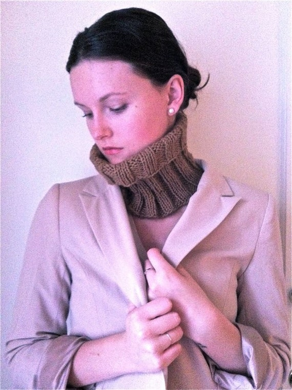 Sale - Chocolate Knitted Neck Warmer Cowl