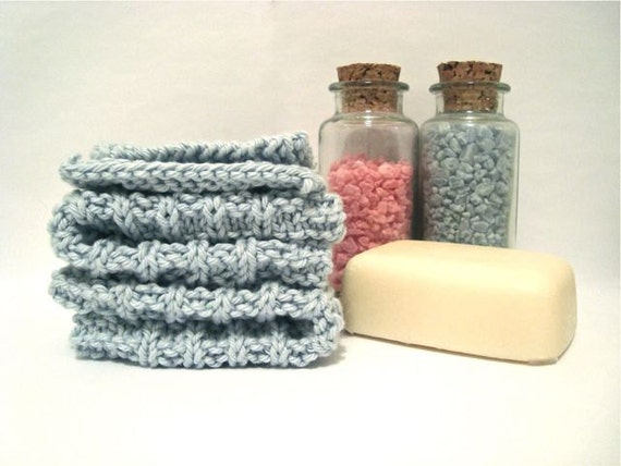 Knitted Cotton Dish Cloths & Face Scrubbies (set of 4), Light Pastel Blue Rags