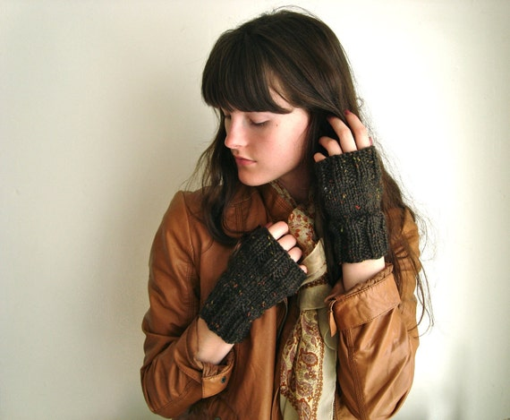 Brown Wool Mittens for Autumn, Chestnut Tweed with Bits of Orange, Yellow, and Green
