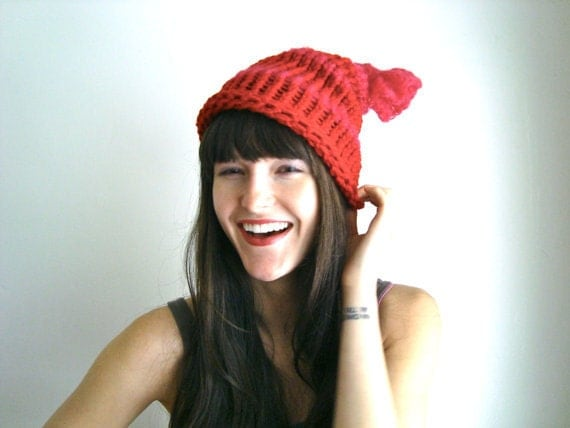 SALE- Red Knitted Hat, Knot Hat for Winter