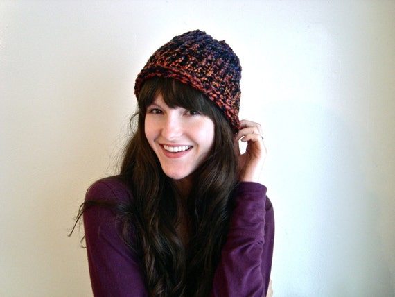 Deep Autumn Colors, Knitted Beanie Hat Winter Cap, Thick and Soft