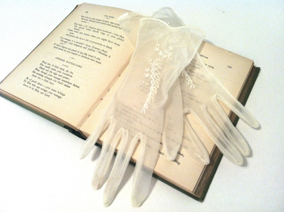 Sheer Vintage Gloves, Wedding, Embroidered, Lightweight Ivory Nylon