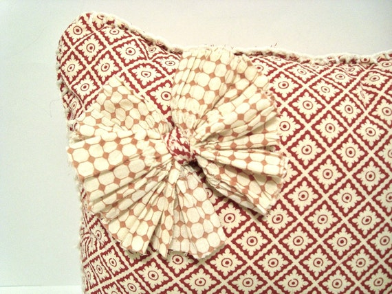 Chic Throw Pillow, Red Diamond Pattern- Upcycled