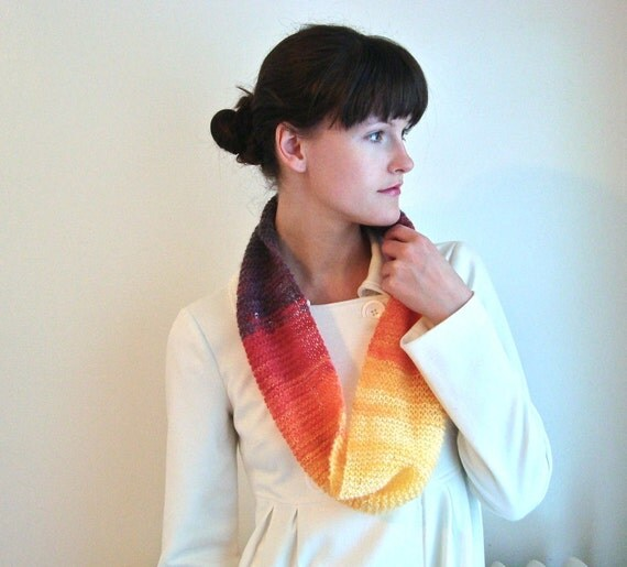 Sunset Infinity Scarf Autumn Colors, Lightweight Hand-Knitted Circle Scarf Airy