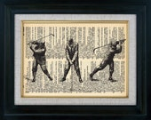 Retro Golfer Swing Vintage Illustration on Book Page Art Print (id6004)