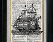 Retro Sail Ship 12 Vintage Illustration on Book Page Art Print (id6108)