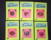 Kawaii animal bright green hot pink kids party invitations