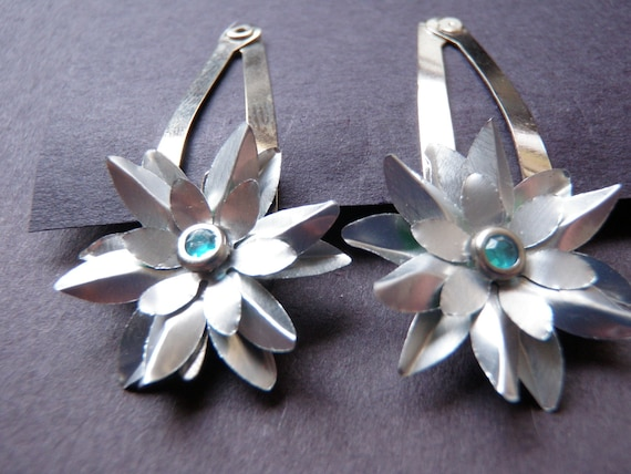 Snow Queen Upcycled Soda Can Flower Hair Clips