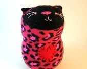 Hot Pink and Black Leopard Sock Cat Plush