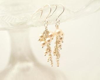 Wedding Pearl Dangle Bridal Earrings Wedding Jewelry Bridesmaid Ivory Gift Maid of Honor Jewellery Made By Me Cascade Earrings