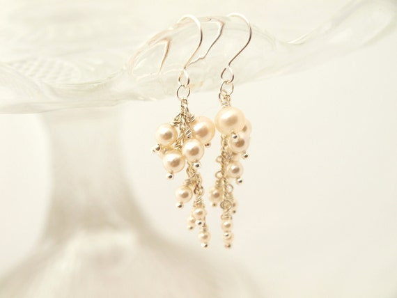 Wedding Pearl Dangle Bridal Earrings Wedding Jewelry Bridesmaid Ivory Gift Maid of Honor Jewellery Made By Me Cascade Earrings