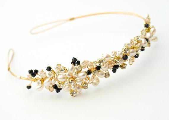 Black Gold and Pearl Side Tiara Wedding Hair Accessory Swarovski Elements Crystal Bridal Headdress Prom Tiara UK Handmade