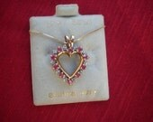 10k Yellow Gold Vintage 1980s Genuine Ruby and Diamonds Heart Pendant