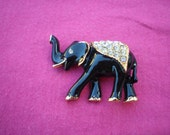 Black Enamel and Rhinestones Elephant Brooch