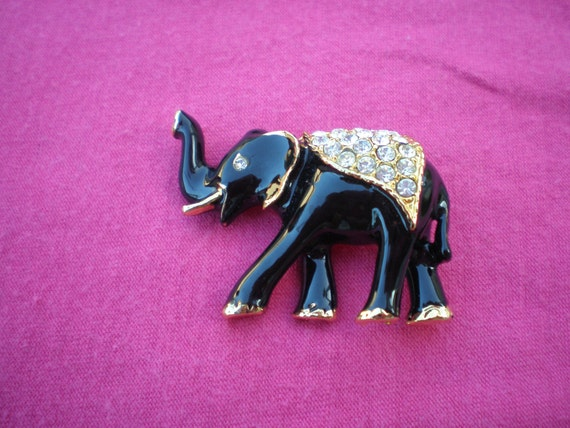 Black Enamel and Rhinestones Elephant Brooch