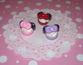 Minnie Mouse Cupcake Charm -  Choose Pink, Red or Lavender Polymer Clay Pendant