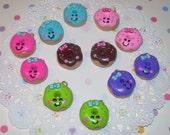 Happy Face Doughnut Charms - Kawaii Food Charms - You Pick Color