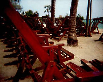Day At the Beach, Rows of Red Lounge Chairs, International Travel, Mexico - 5x7 Fine Art Photograph