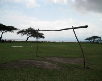 African Landscape, Rural Langano, Soccer Field, Goal Posts, Acacia Trees, Ethiopia Decor, Wanderlust Travel Decor - 4 sizes available