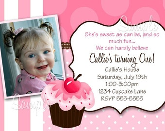 Cupcake Cutie Print Your Own Girls Birthday Party Invitation