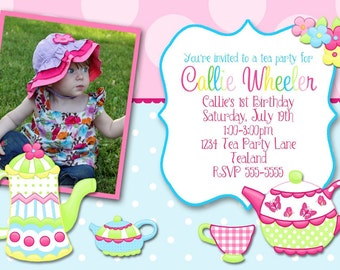 Tea Party  Print Your Own Girls Birthday Party Invitation
