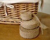 """2 Rolls of 3/4"""" wide Burlap Ribbon, 6 yards total -- for Weddings or Crafts"""