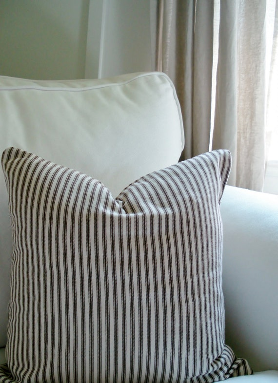 "Reserved for Leslie -- Ticking Stripe Pillow Cover, Brown -- for 16"" x 16"" pillow"