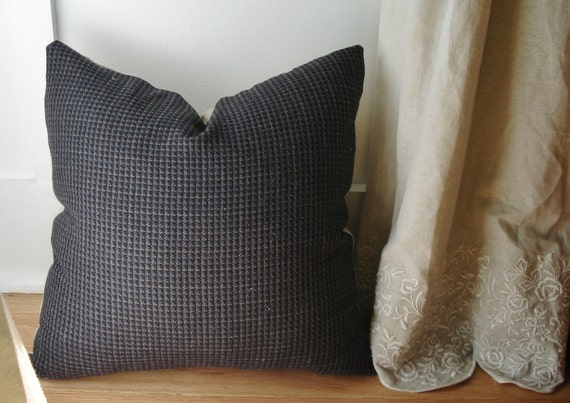 """SALE Houndstooth & Linen Menswear Pillow Cover -- for 16"""" x 16"""" pillow"""