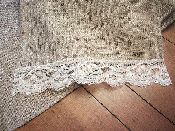 Burlap Runner with Vintage Lace, 65""